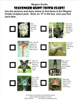 Grotto Scavenger Hunt Worksheet with clues