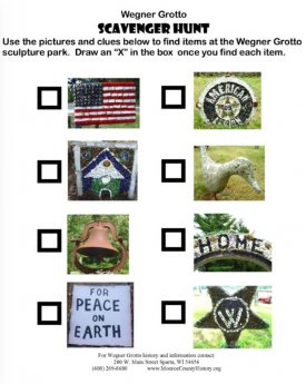 Grotto Scavenger Hunt Worksheet with no clues